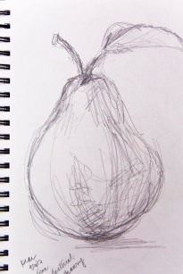 Gestural drawing of a pear